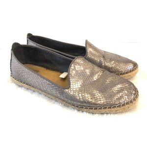 DV Metallic Silver Espadrille Shoes Flats 8